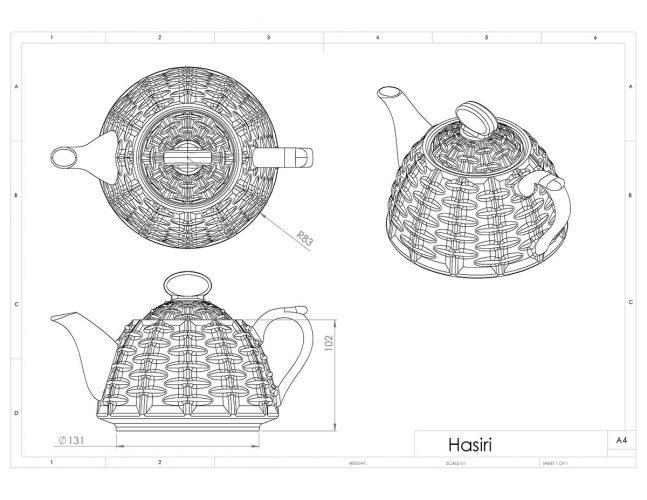نقشه دو بعدی قوری حصیری در نماهای مختلف قبل از انقباض
